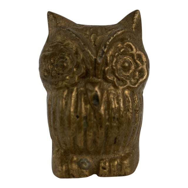 Vintage Mid 20th Century Tiny Brass Owl For Sale