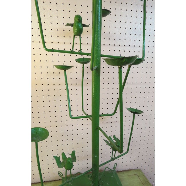Folk Art Vintage Green Wrought Iron Bird Motif 11 Candle Garden Fixture For Sale - Image 3 of 5