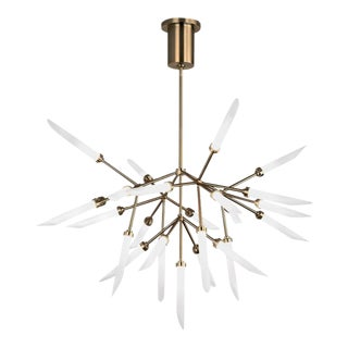 Modern Branch Spur Led Pendant in Metal and Glass For Sale