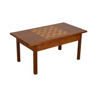 Hand Crafted Solid Cherry Wood Checkerboard Top Game Table by F. G. Harrison III For Sale