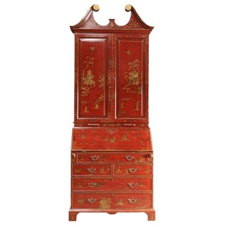 Mid 20th Century George III Style Chinoiserie Red Lacquered Secretary Bookcase For Sale