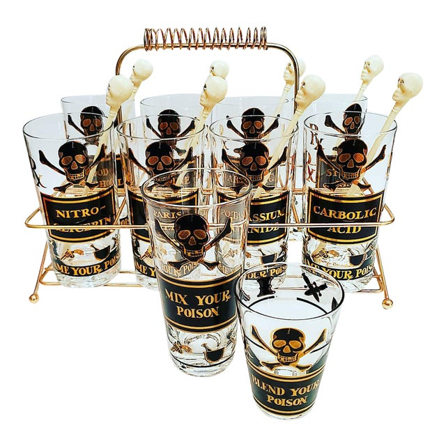 Georges Briard Poison Glasses, Name Your Poison, MIX Your Poison and Blend Your Poison Set - 19 Pieces For Sale