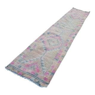 1970s Vintage Turkish Pale Pink Rug Runner - 2′5″ × 11′6″ For Sale
