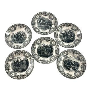Boch Belgium Battle Scenes Napoleon Bonaparte Cabinet Plates – Set of 6 For Sale