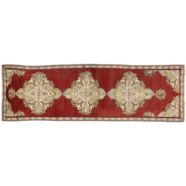 Early 20th Century Antique Turkish Oushak Hallway Runner Rug - 03'04 × 10′07 For Sale In Dallas - Image 6 of 7