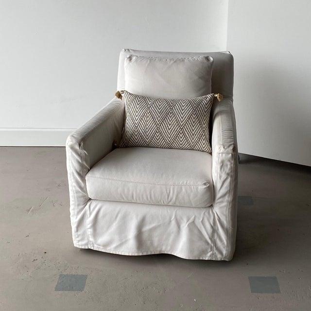 Kapas Slipcovered Swivel Chair For Sale - Image 9 of 10