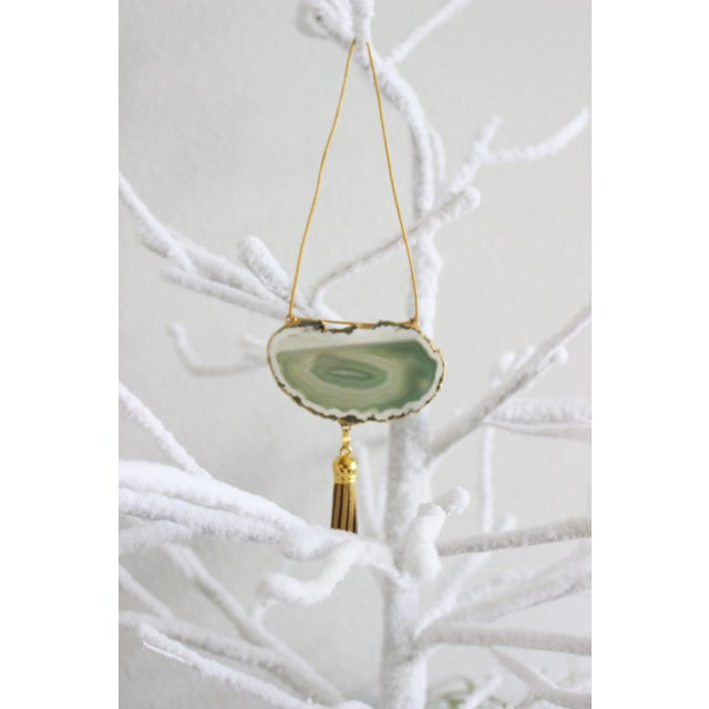 Modern Boho Green Agate Holiday Ornaments - A Pair - Image 5 of 6