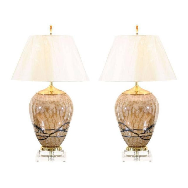 Extraordinary Pair of Eastern European Blown Glass Vessels as Custom Lamps For Sale - Image 11 of 11