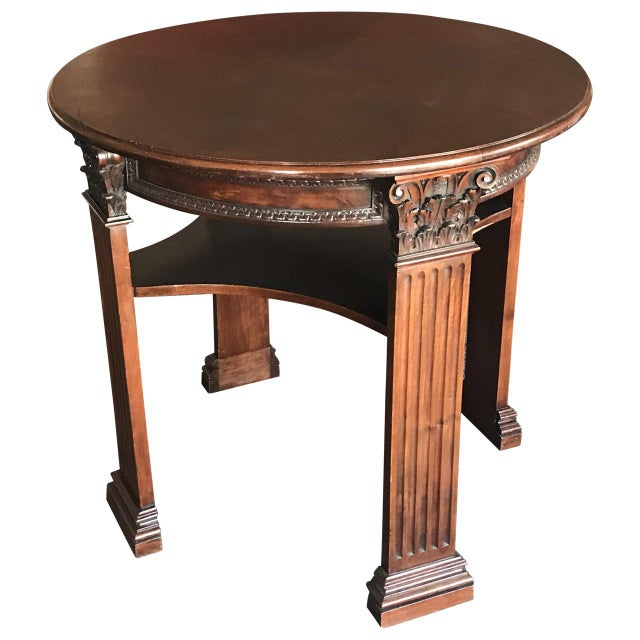 English Mid 19th Century Antique English Mahogany Center Table For Sale - Image 3 of 4