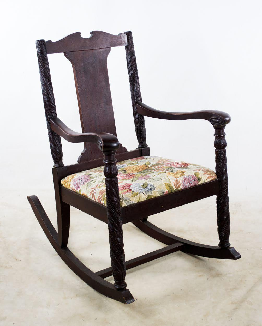 Victorian Hand Carved Rocking Chair For Sale - Image 13  sc 1 st  Chairish & Antique Aimone Mfg Co. Victorian Hand Carved Rocking Chair | Chairish