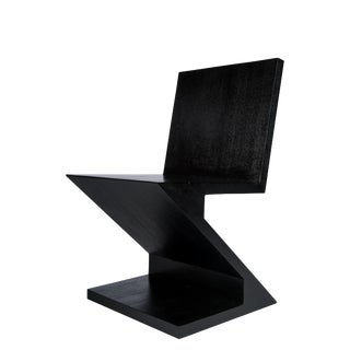 Zig Zag Accent Chair in Black For Sale