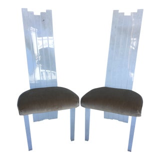 1970s Vintage Charles Hollis Jones by Hill Manufacturing Lucite Dining Chairs - a Pair For Sale