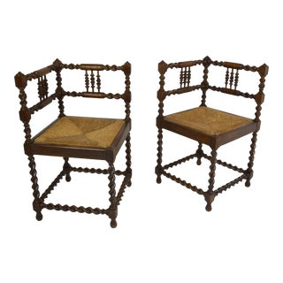 Late 1800's-French Corner Chairs For Sale