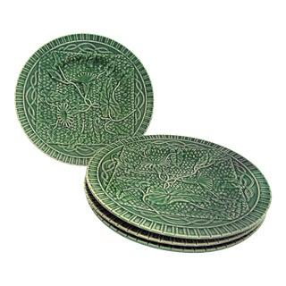 Vintage Mid-Century Bordallo Pinheiro Green Majolica Plates - Set of 4 For Sale