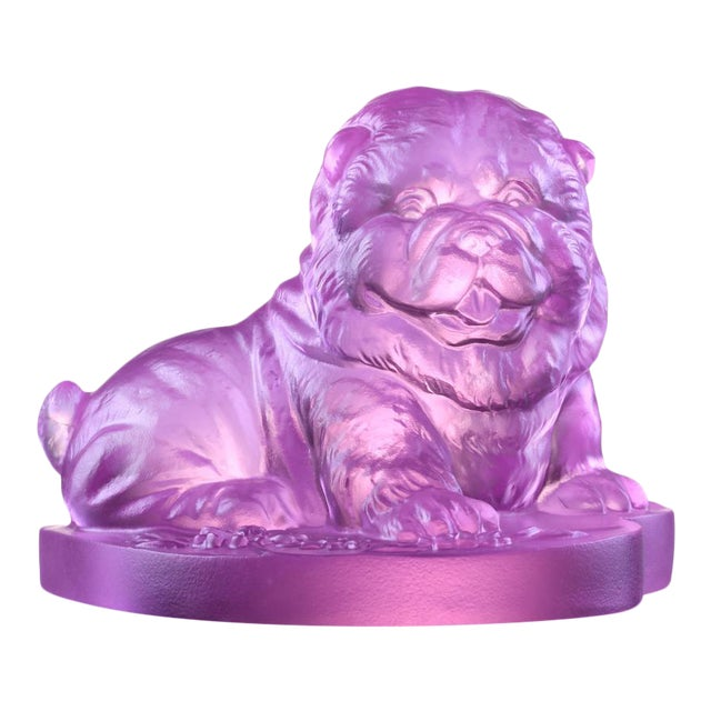 """Crystal Limited Edition Chow Chow Dog """"Only Love"""" in Pinkish Red For Sale"""
