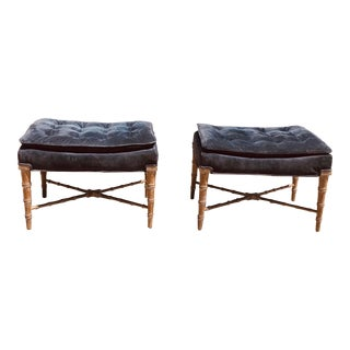 1980s Hollywood Regency Faux Bamboo X-Stretcher Base Ottomans - a Pair For Sale