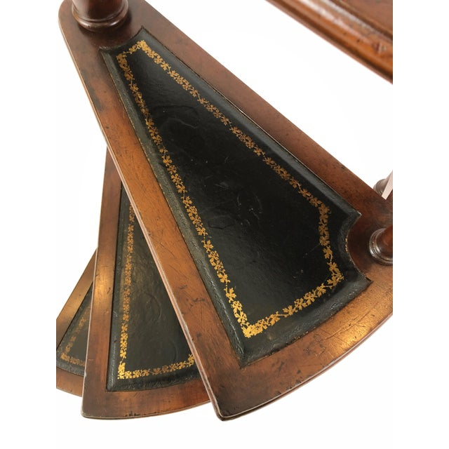 1980s Vintage English Style Decorative Mahogany & Embossed Leather Library Stairs For Sale - Image 10 of 12