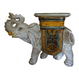Italian Glazed Terra Cotta Elephant Table or Garden Seat For Sale