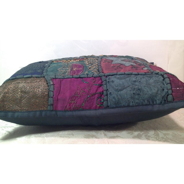 Boho Tribal Block Print Textile Artistic Pillow - Image 4 of 5