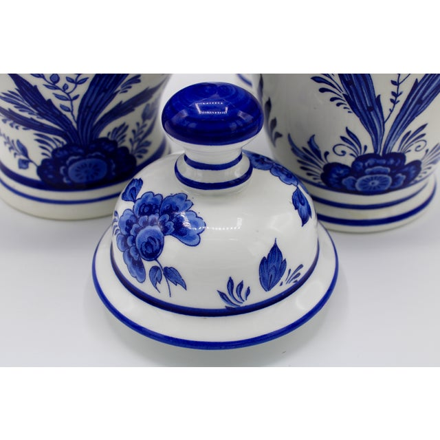 Mid-20th Century Blue and White Floral Dutch Delft Ginger Jar and Vase Set For Sale - Image 10 of 13
