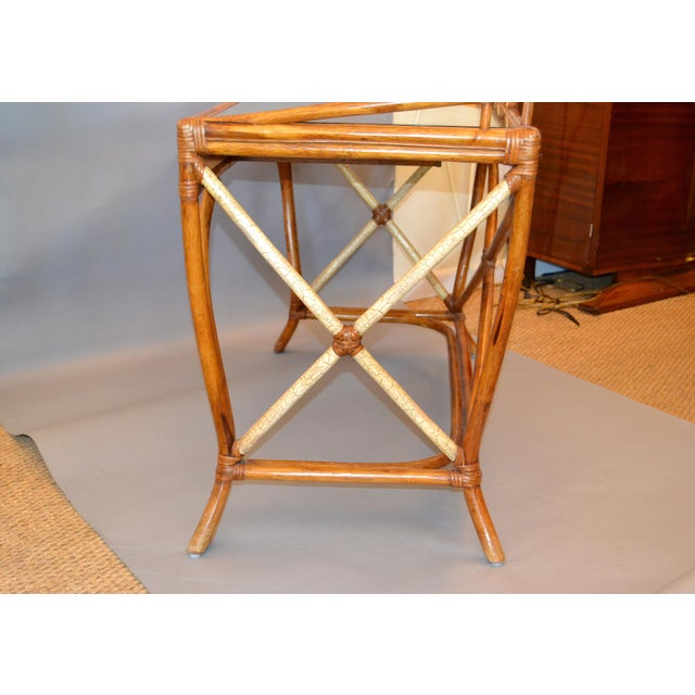 Wood Boho Chic Vintage Handcrafted Bamboo Desk, Writing Desk With Drawer & Glass Top For Sale - Image 7 of 13