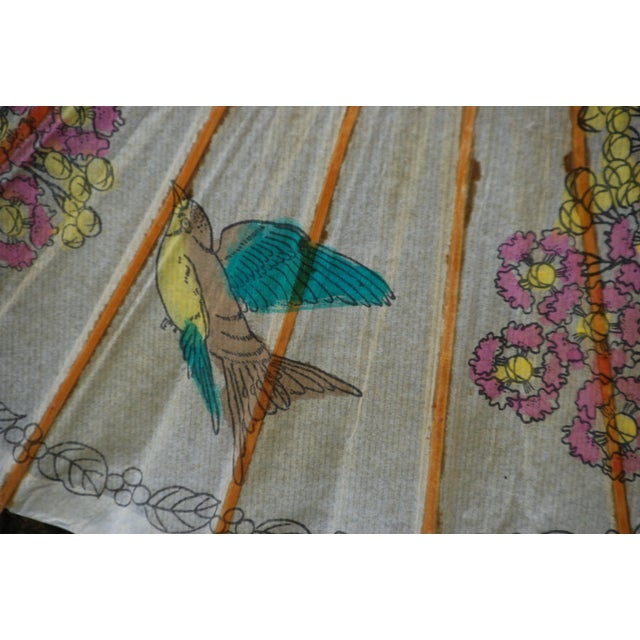 Vintage Asian Rice Paper Floral Umbrella - Image 4 of 10