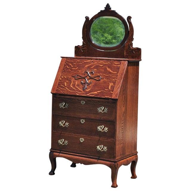 Antique Tiger Oak Victorian Las Drop Front Secretary Desk