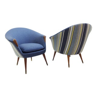 Brass and Teak Danish Armchairs Att to Nanna Ditzel - New Upholstery by Dörflinger & Nickow