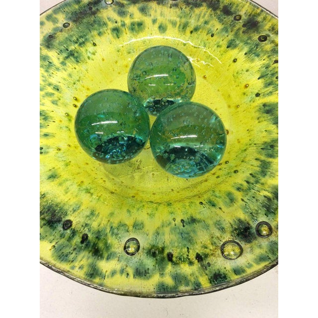 Green Murano Glass Decorative Bowl with Balls on Stand - Image 4 of 5