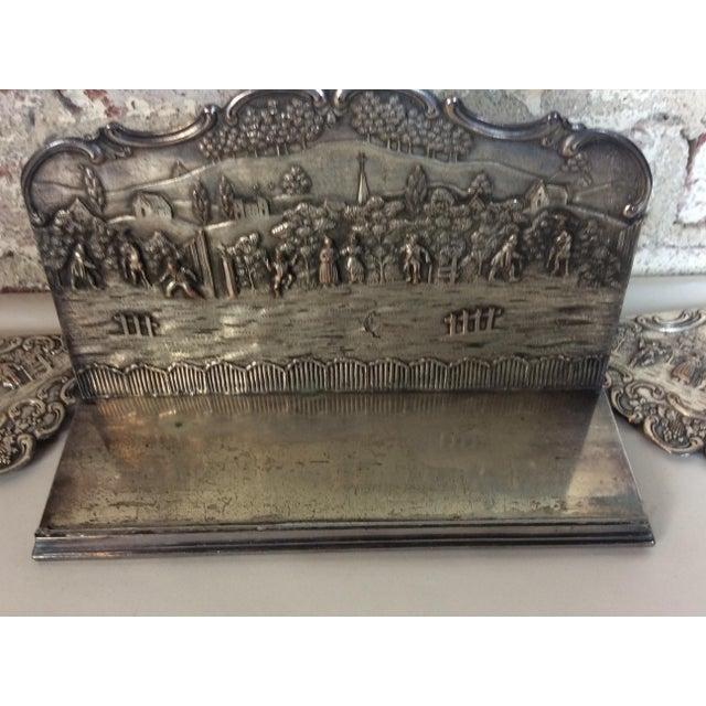 Silver Antique Silver Plated Calendar Desk Set - 9 Pieces For Sale - Image 8 of 10