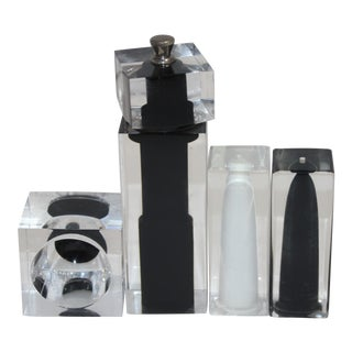 Lucite Salt Pepper Shaker & Pepper Mill & Salt Cellar Set Black White Clear - Set of 4 For Sale