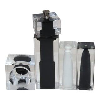 Vintage Lucite Salt Pepper Shaker & Pepper Mill & Salt Cellar Black White Clear - Set of 4 For Sale
