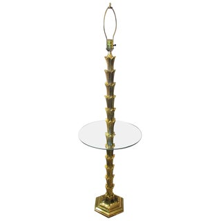 Mid-Century Modern Solid Brass Palm Tree Floor Lamp Circa 1960s For Sale