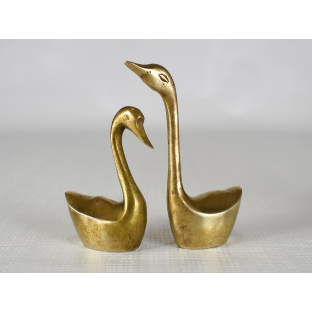 Mid Century Solid Brass Swan Water Bird Figurines- Set of 4 For Sale - Image 6 of 8