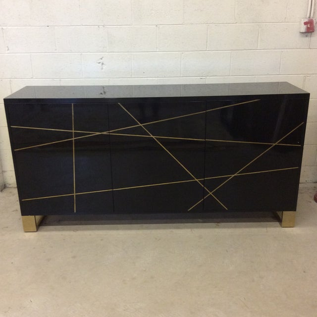 Modern History Black Lacquer and Brass Abstract Credenza For Sale - Image 12 of 12