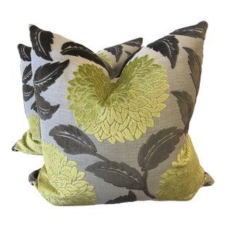 """Kiwi Large Floral Cut Velvet 22"""" Pillows-A Pair For Sale"""
