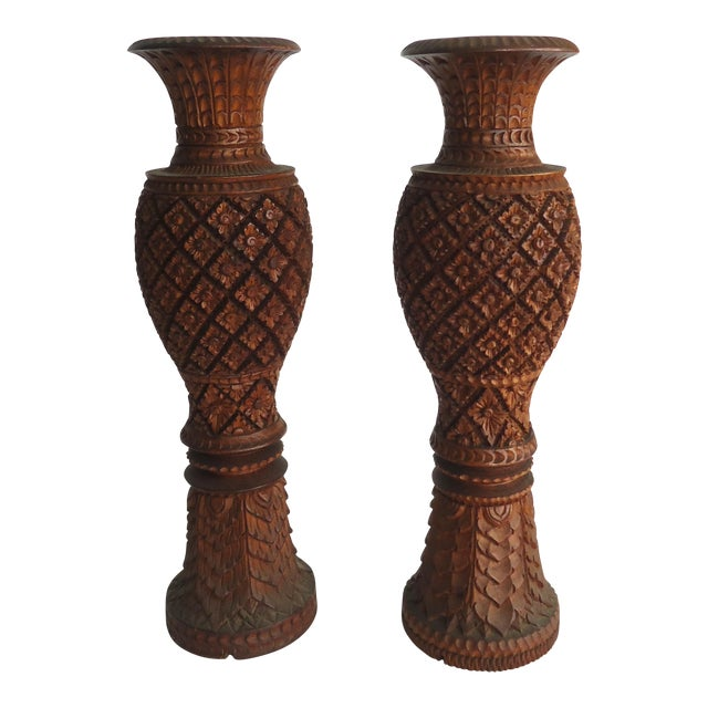 South East Asian Large Carved Wood Urn Lamp Bases- A Pair - Image 1 of 5
