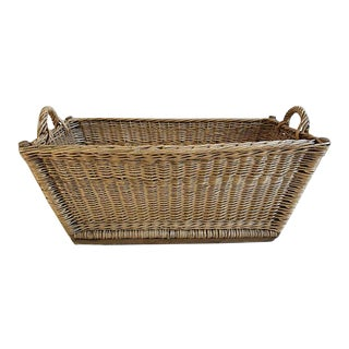 French Hand Woven Wicker & Willow Market Basket For Sale