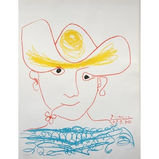 1970s Picasso Portrait Original Lithograph in Yellow Red Turquoise For Sale