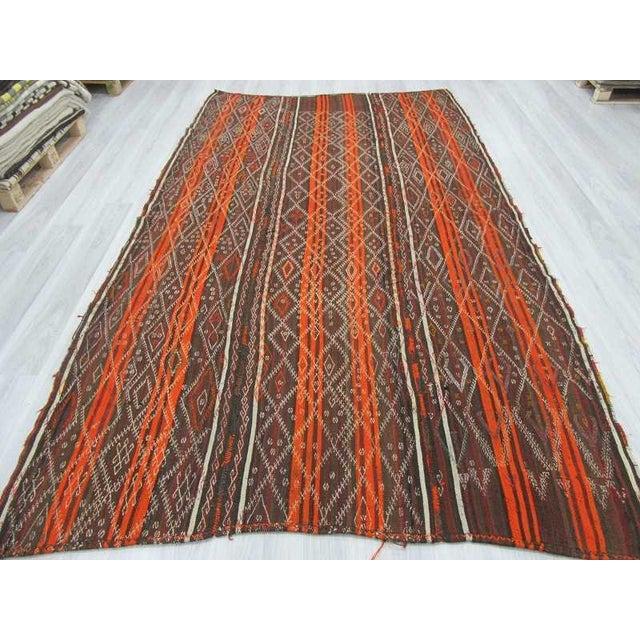 Boho Chic Vintage Orange Striped Turkish Kilim Rug - 6′7″ × 11′6″ For Sale - Image 3 of 6