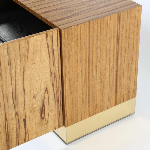 Brass MILO BAUGHMAN ROSEWOOD AND BRASS NIGHTSTAND OR END TABLE For Sale - Image 7 of 8