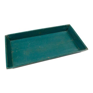 Vintage Distressed Blue Wood Tray For Sale