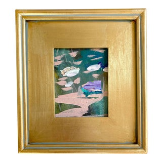 Water Reflections Mini Painting With Gold Frame For Sale