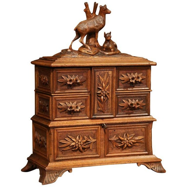 19th Century French Black Forest Carved Walnut Jewelry Box For Sale - Image 13 of 13