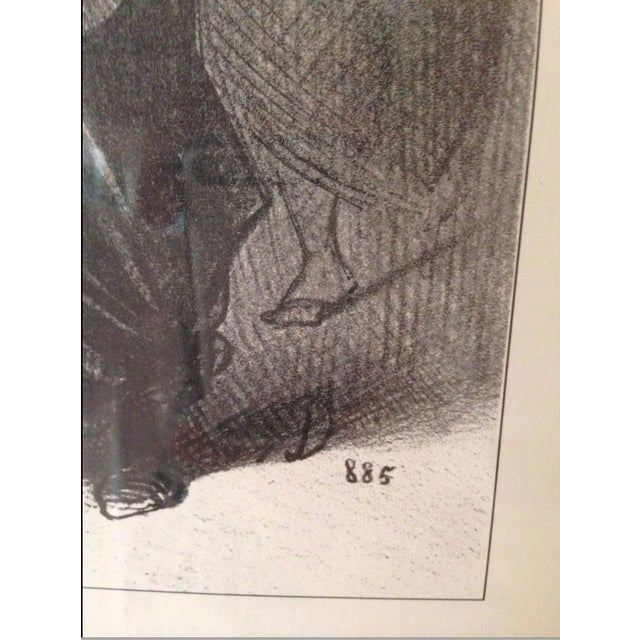 """Honoré Daumier Vintage Framed Honore Daumier """"Les Gens De Justice"""" 885"""" Lithograph Print For Sale - Image 4 of 8"""