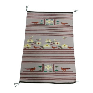 Navajo Hand Woven Wool Saddle Blanket w/Desert Runner Birds For Sale