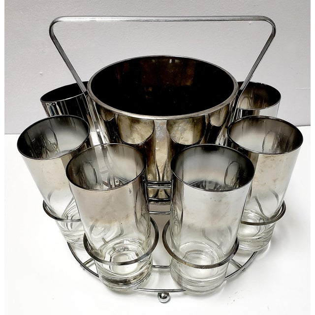 Mid-Century Modern Dorothy Thrope Mirrored Glases& Ice Bucket Set W/ Stand - Set for 8 For Sale - Image 3 of 10