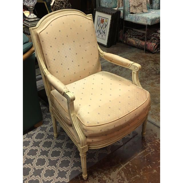 Baker Furniture Louis XVI Style Scalamandre Fabric Fauteuil Chair For Sale - Image 13 of 13