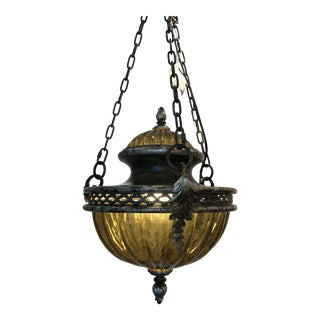 Metal and Glass Traditional Fine Art Lamps Brazilian Pendant For Sale
