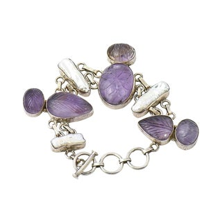 Carved Amethyst & Pearl Bracelet For Sale